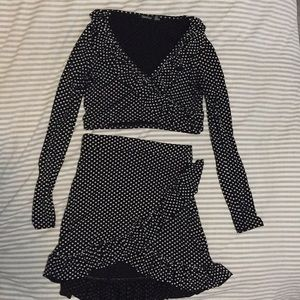 Boohoo black and white polka dot two-piece outfit